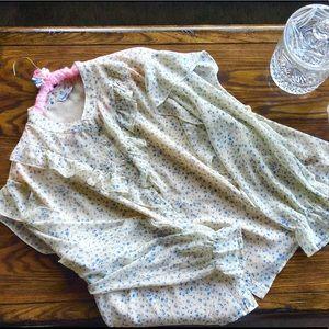 MsShe plus size beige floral button down blouse